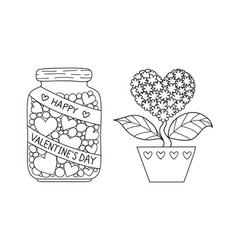 marson jar and love tree vector image