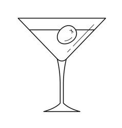 Martini glass line icon vector