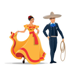 mexican man and woman with national clothes vector image