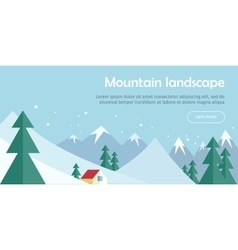 Mountain Landscape Web Banner Skiing Scinery vector