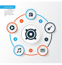 Music icons set collection of octave instrument vector