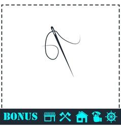 Needle icon flat vector