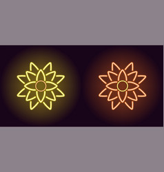 neon lotus with backlight in yellow and orange vector image