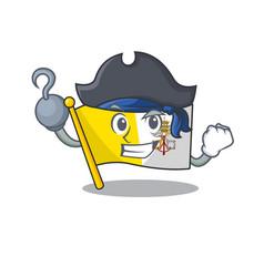 One hand pirate flag vatican city scroll cartoon vector