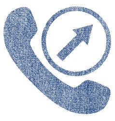 Outgoing call fabric textured icon vector