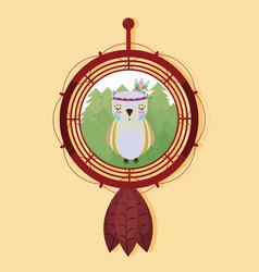 owl on dream catcher vector image