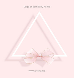 Pink empty ad banner geometric design with bow vector