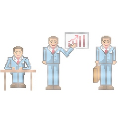 Pixel businessman vector
