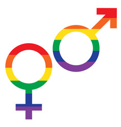 Rainbow flag male female symbols vector