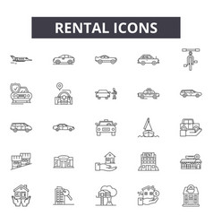 Rental line icons signs set linear vector