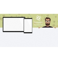Responsive landing page or one website template vector