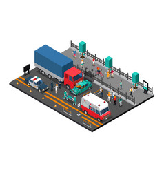 road crash isometric vector image