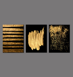 set black and gold design templates vector image