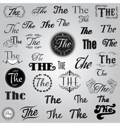 set monochrome catchword in retro style vector image