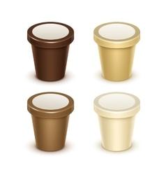 Set of Food Plastic Bucket For Yogurt Ice Cream vector image