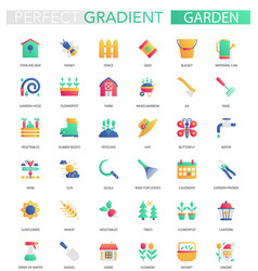 set of trendy flat gradient garden icons vector image