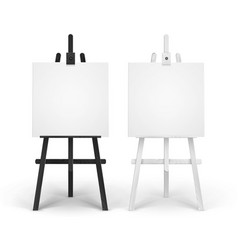 set of wooden black white easels with mock vector image