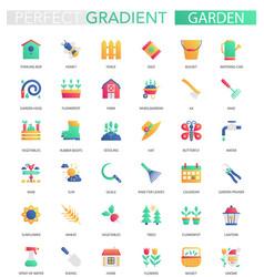 set trendy flat gradient garden icons vector image