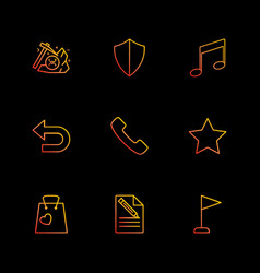 Sheild music back phone star shopping bag vector