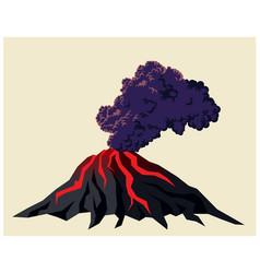 smoking volcano and black clouds smoke vector image