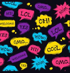 speech bubble seamless pattern in linocut style vector image