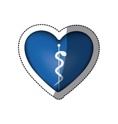 Sticker in heart shape with health symbol with vector