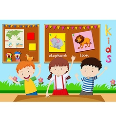 Three children learning in classroom vector