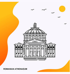 Travel romanian athenaeum poster template vector