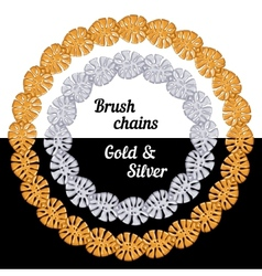 Tropical leaves Set of chains metal brushes - gold vector