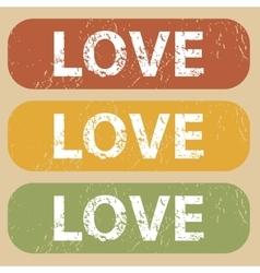 Vintage LOVE stamp set vector