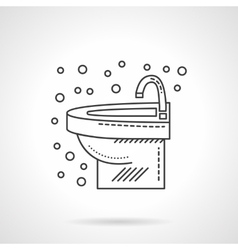 Wash basin with faucet flat line icon vector image