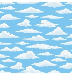 White clouds blue sky seamless pattern vector