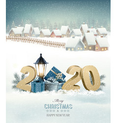 Winter christmas holiday background with a snowy vector