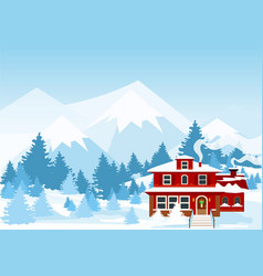 Winter landscape with vector