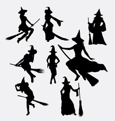 Witch halloween event silhouette vector