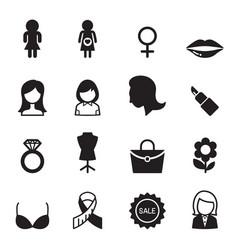 Woman icon set vector