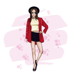 woman with fashion clothes vector image