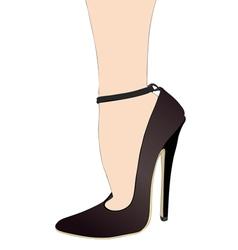 Womans foot with shoe with heel murderess vector