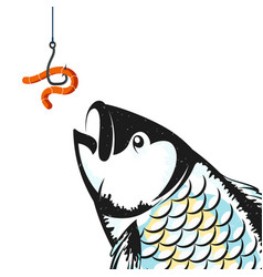 Worm on the hook and fish vector