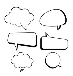 bubbles text boxes comic set with isolated white vector image vector image