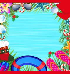 Christmas beach frame with copy space vector