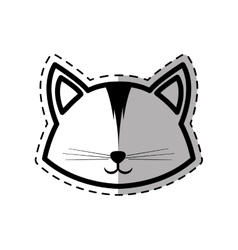 face cat animal domestic furry dot line shadow vector image vector image
