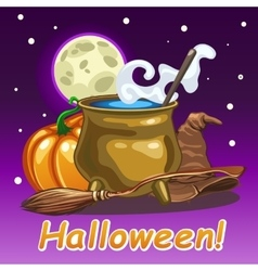 Halloween card magic set of witch vector image