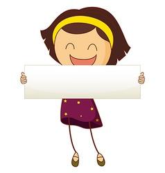 Little girl holding white sign vector image vector image