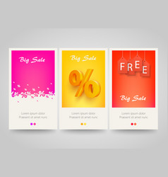 modern colorful vertical banners with price labels vector image vector image
