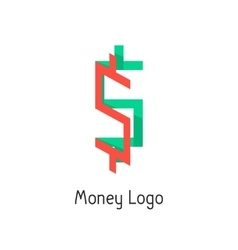 money logotype with colored dollar sign vector image vector image