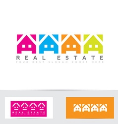 Real estate colors house logo vector