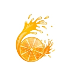 Slice of Orange with Splash vector image vector image