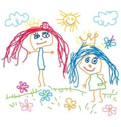 Children drawing princess vector image vector image