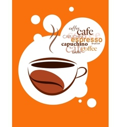 cup of hot coffee on orange background vector image vector image